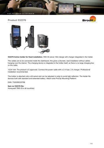 Brodit 532376 Datasheet - The Barcode Warehouse