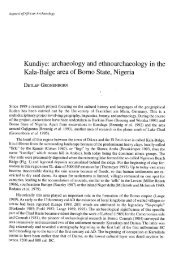 Kundiye: archaeology and  ethnoarchaeology in the