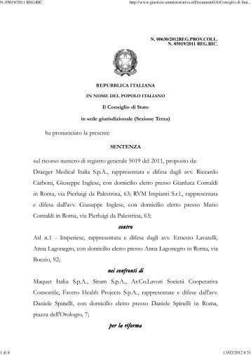 Consiglio di Stato sez. III 3/2/2012 n. 630. - Appalti e Contratti
