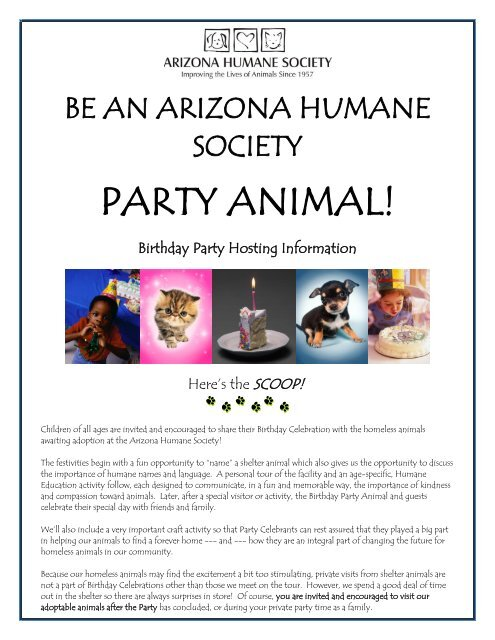 Party Animal Birthday Package