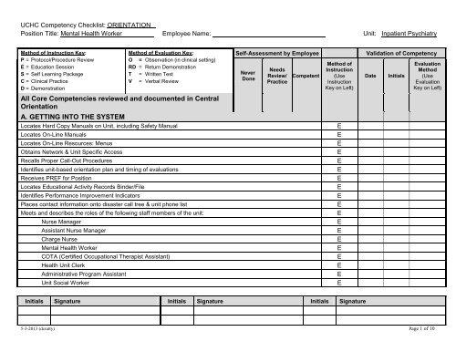 UCHC Competency Checklist ORIENTATION Department Of Nursing