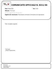 COMUNICATO UFFICIALE N. 0211/04 - TLX