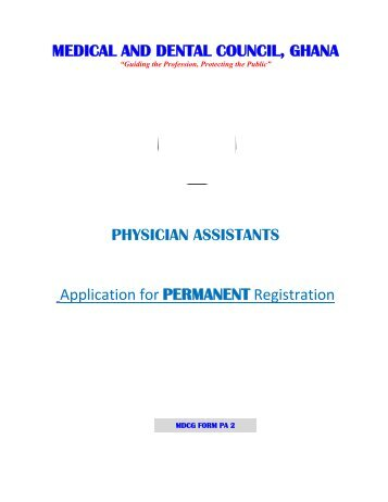 Physican Assistants Forms.pdf - Medical & Dental Council Ghana