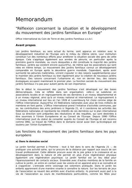 Memorandum - Office International du Coin de Terre et des Jardins ...