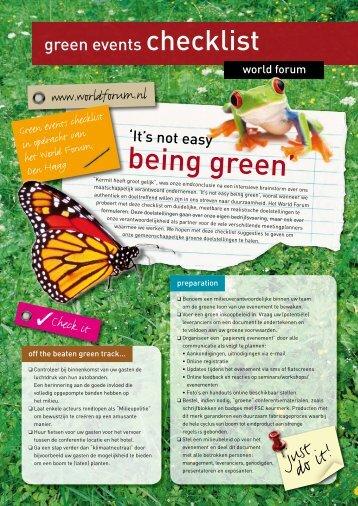Green Events checklist - World Forum