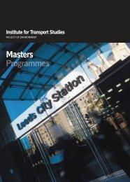Masters - Institute for Transport Studies - University of Leeds