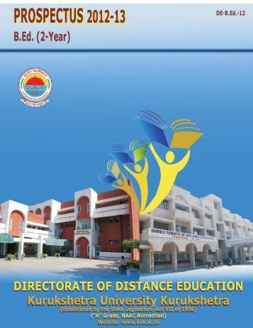 B.Ed - (2 Year) - Par I - (Distance Mode Only) - Kurukshetra University