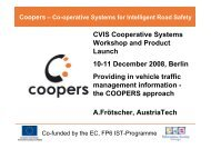 CVIS Cooperative Systems Workshop and Product ... - Coopers