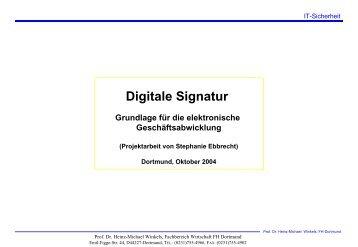 Digitale Signatur - Prof. Dr. Heinz-Michael Winkels