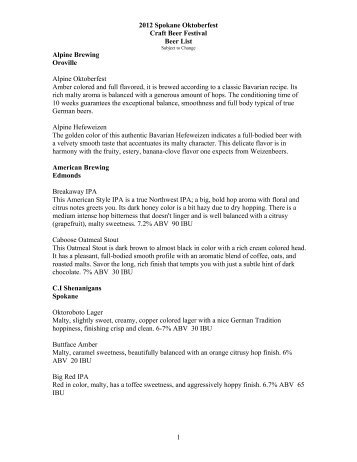 2012 Spokane Oktoberfest Craft Beer Festival Beer List 1 Alpine ...