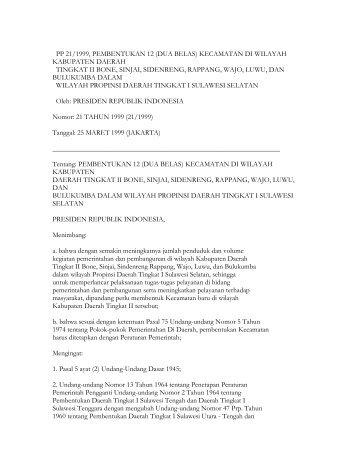 pp 21/1999, pembentukan 12 (dua belas) kecamatan di wilayah ...