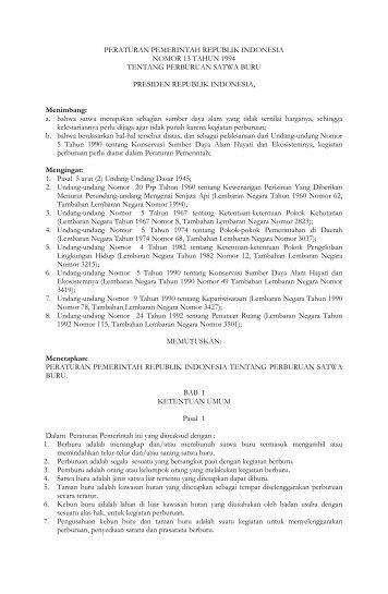 PERATURAN PEMERINTAH REPUBLIK INDONESIA NOMOR 13 ...
