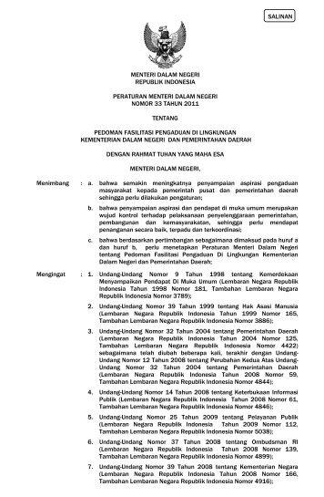 Pedoman Fasilitasi Pengaduan di Lingkungan Kementerian Dalam ...