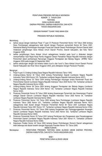 peraturan presiden republik indonesia nomor 3 tahun 2004 tentang ...