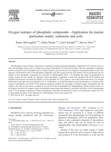Oxygen isotopes of phosphatic compounds—Application for marine ...
