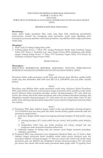peraturan pemerintah republik indonesia nomor 17 tahun 1992 ...
