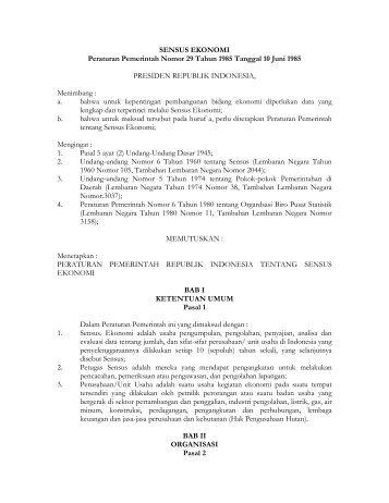 SENSUS EKONOMI Peraturan Pemerintah Nomor 29 Tahun 1985 ...