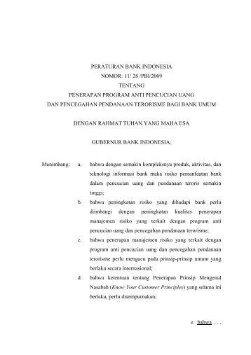 PERATURAN BANK INDONESIA NOMOR: 11/ 28 /PBI/2009 ...