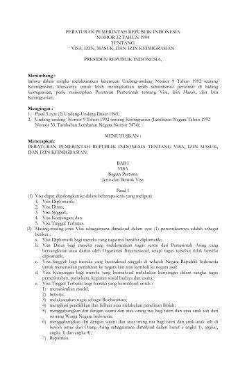 peraturan pemerintah republik indonesia nomor 32 tahun 1994 ...