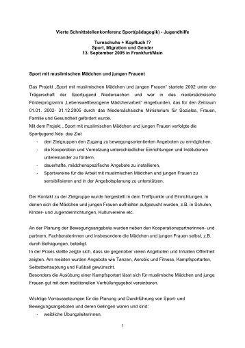 1 Vierte Schnittstellenkonferenz Sport(pädagogik) - Jugendhilfe ...