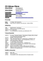 CV Göran Färm - Socialdemokraterna