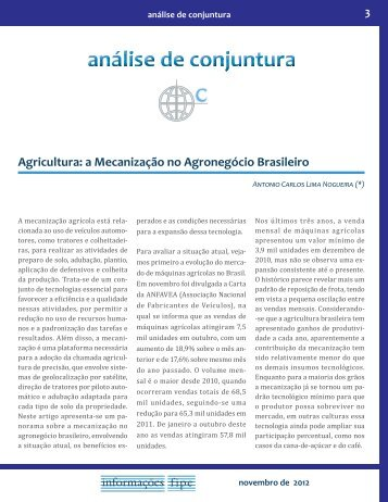 Agricultura: a Mecanização no Agronegócio Brasileiro - Fipe