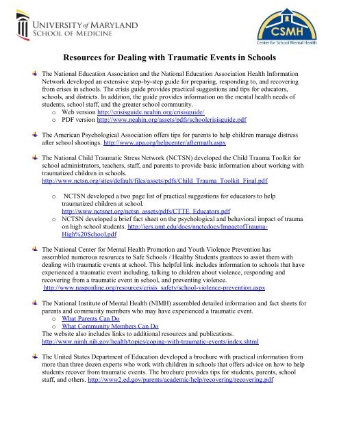 Resources for Dealing with Traumatic Events in Schools