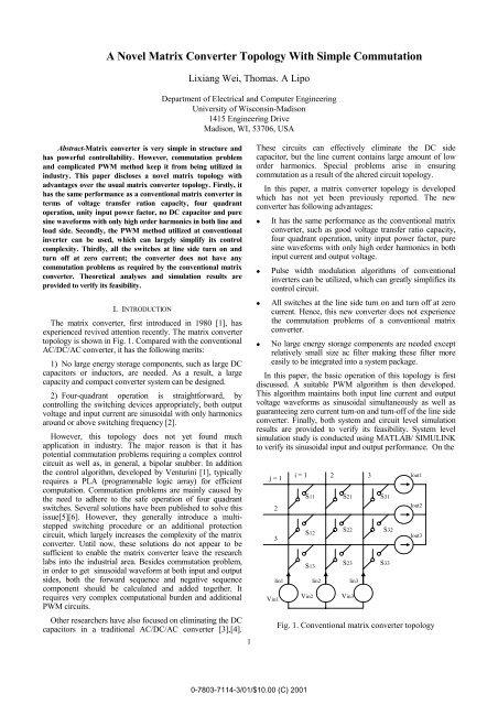 A Novel Matrix Converter Topology with Simple Commutation