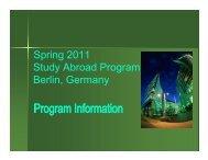 Spring 2011 Study Abroad Program Berlin, Germany