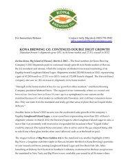 Kona Brewing Company 2012 Growth