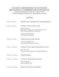 Agenda - Louisiana Department of Insurance