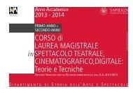 Offerta didattica del Corso di Laurea Magistrale Spettacolo Teatrale ...