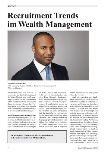 Recruitment Trends im Wealth Management - Private Magazin
