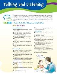 Talking and Listening Checklist - Parent Link Centre