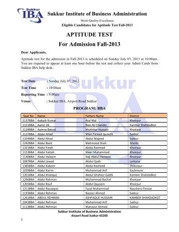 APTITUDE TEST For Admission Fall-2013 - Sukkur Institute of ...