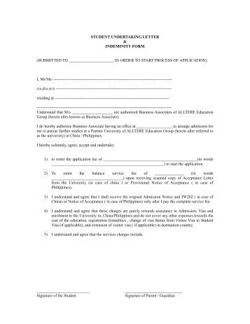 Indemnity Form Template