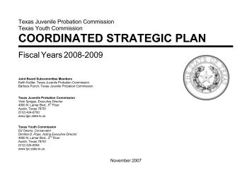 coordinated strategic plan - Texas Juvenile Justice Department