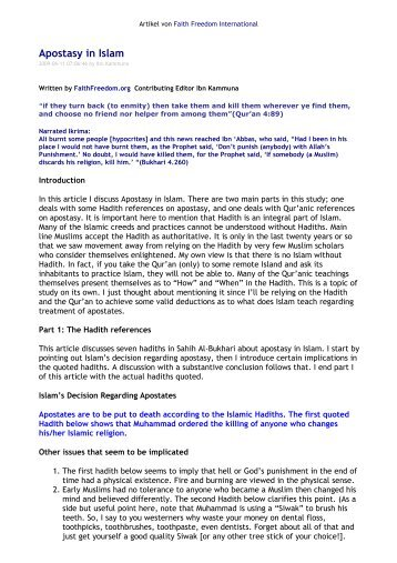 Apostasy in Islam - Understanding Muhammad
