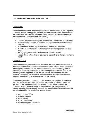 CUSTOMER ACCESS STRATEGY 2009-2013 _Final Version