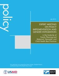 Expert Meeting on Policy Implementation and Gender Integration in ...