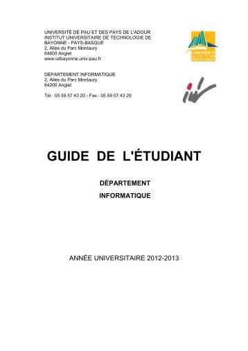 guide de l'étudiant département informatique - IUT Bayonne