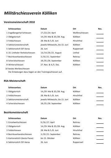 Jahresprogramm 2010.xlsx - Militärschiessverein Kölliken