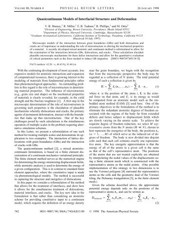 Quasicontinuum Models of Interfacial Structure and Deformation