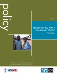 Repositioning Family Planning in Togo - Health Policy Project