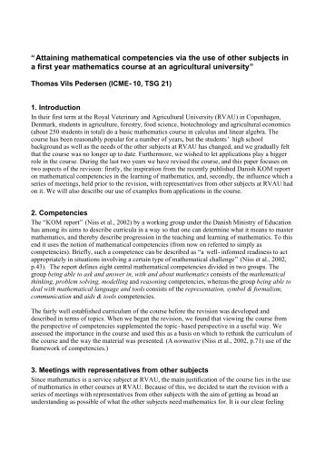 Attaining mathematical competencies via the use of other subjects in ...