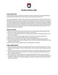 Resident Advisor (RA) Job Description - Boyce College