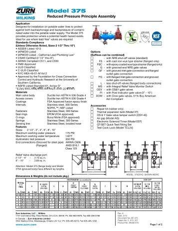 zurn wilkins model 375 manual - FREE ONLINE