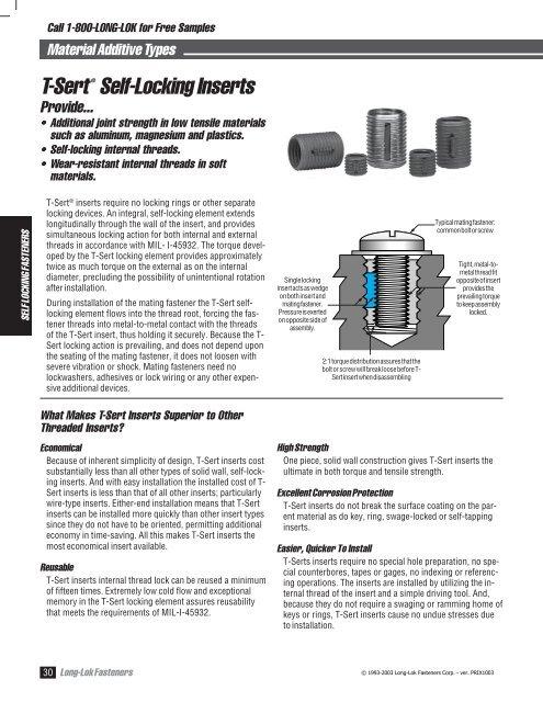 T-Sert ® from Long-Lok Fasteners Corporation - NetSuite