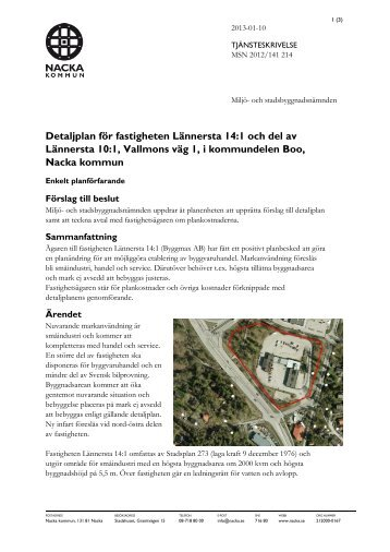 Detaljplan för fastigheten Lännersta 14:1 och del ... - Nacka kommun