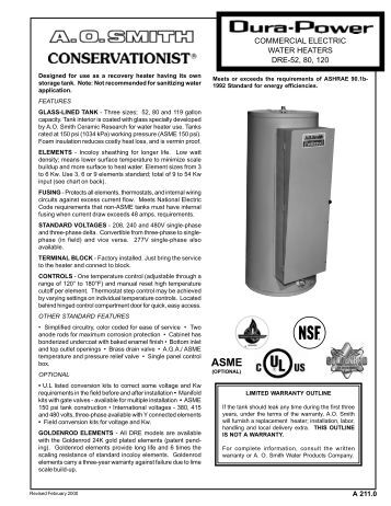 commercial electric water heaters dre-52, 80, 120 - A.O. Smith Water ...